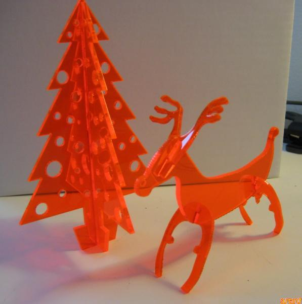 laser cut cristmas tree and laser cut reindeer